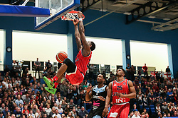 Fred Thomas of Bristol Flyers scores with a slam dunk - Photo mandatory by-line: Arron Gent/JMP - 28/04/2019 - BASKETBALL - Surrey Sports Park - Guildford, England - Surrey Scorchers v Bristol Flyers - British Basketball League Championship