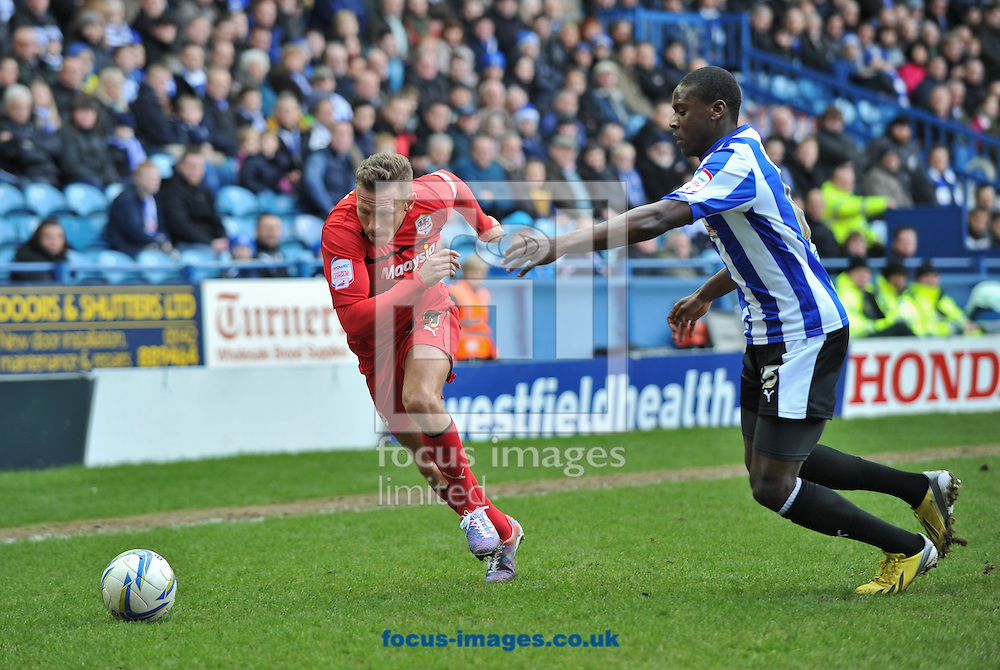 Picture by Richard Land/Focus Images Ltd +44 7713 507003.16/03/2013.Jeremy Helan of Sheffield Wednesday and Craig Bellamy of Cardiff City during the npower Championship match at Hillsborough, Sheffield.