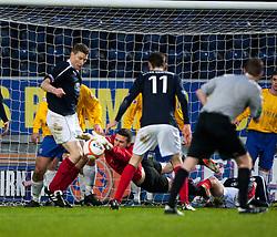 Cowdenbeath's keeper Thomas Flynn saves at the feet of Falkirk's Darren Dods..Falkirk 2 v 0 Cowdenbeath, 15/12/2012..©Michael Schofield.