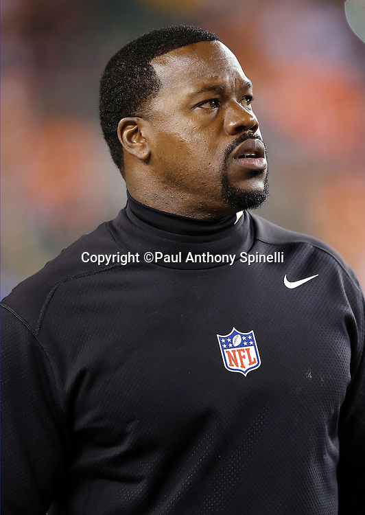 Pittsburgh Steelers outside linebackers coach Joey Porter looks on from the sideline before the NFL AFC Wild Card playoff football game against the Cincinnati Bengals on Saturday, Jan. 9, 2016 in Cincinnati. The Steelers won the game 18-16. (©Paul Anthony Spinelli)