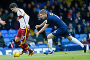 Southend's midfielder Jermaine McGlashan on the ball with Bradford's midfielder Romain Vincelot closeing in during the EFL Sky Bet League 1 match between Southend United and Bradford City at Roots Hall, Southend, England on 16 December 2017. Photo by Matt Bristow.