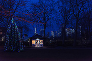 Island Gardens Cafe at twilight, Isle of Dogs, London, England.