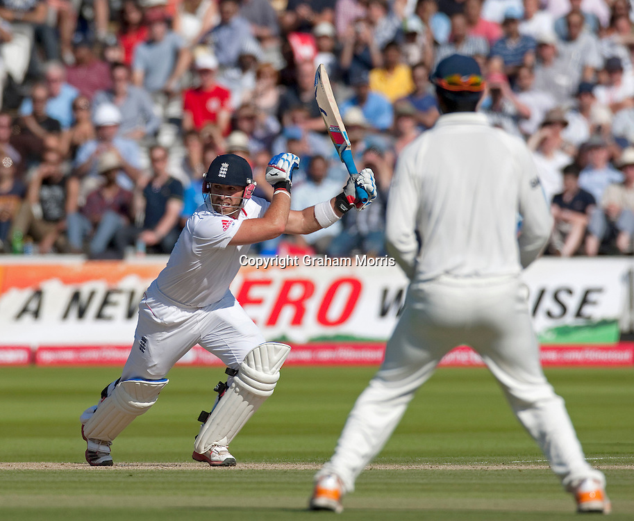Matt Prior reaches his century during the first npower Test Match between England and India at Lord's Cricket Ground, London.  Photo: Graham Morris (Tel: +44(0)20 8969 4192 Email: sales@cricketpix.com) 24/07/11