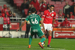 February 3, 2018 - Lisbon, Portugal - Benfica's Mexican forward Raul Jimenez vies with Rio Ave's defender Marcelo during the Portuguese League football match SL Benfica vs Rio Ave FC at the Luz stadium in Lisbon on February 3, 2018. (Credit Image: © Pedro Fiuza/NurPhoto via ZUMA Press)