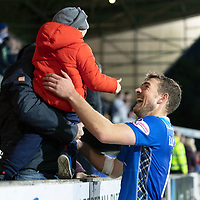 St Johnstone v Hamilton Accies…10.11.18…   McDiarmid Park    SPFL<br />David Wotherspoon celebrates at full time with his nephew Baxter Wotherspoon<br />Picture by Graeme Hart. <br />Copyright Perthshire Picture Agency<br />Tel: 01738 623350  Mobile: 07990 594431