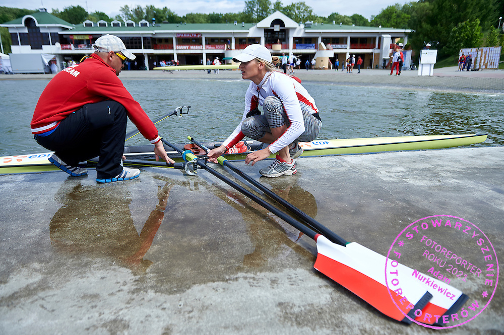 (R) Julia Michalska of Poland talks to (L) her trainer coach Marcin Witkowski before Women&rsquo;s Single Sculls (W1x) Semifinal during second day the 2015 European Rowing Championships on Malta Lake on May 30, 2015 in Poznan, Poland<br /> Poland, Poznan, May 30, 2015<br /> <br /> Picture also available in RAW (NEF) or TIFF format on special request.<br /> <br /> For editorial use only. Any commercial or promotional use requires permission.<br /> <br /> Mandatory credit:<br /> Photo by &copy; Adam Nurkiewicz / Mediasport