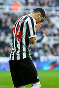 Miguel Almiron (#24) of Newcastle United reacts after missing an opportunity during the Premier League match between Newcastle United and Huddersfield Town at St. James's Park, Newcastle, England on 23 February 2019.