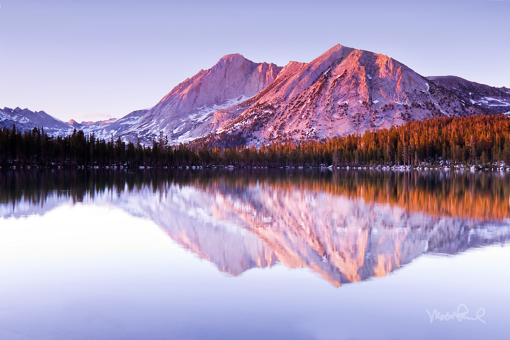 Perfect reflection of Mount Conness, Young Lake found in the Yosemite's backcountry.