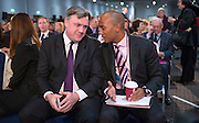 © Licensed to London News Pictures.01/03/2014. LONDON, UK (L-R) Ed Balls, Shadow Chancellor talks to Chuka Umunna Shadow Business Secretary. The Labour Party Special conference today at Excel London on 1st March 2014.  Photo credit : Stephen Simpson/LNP