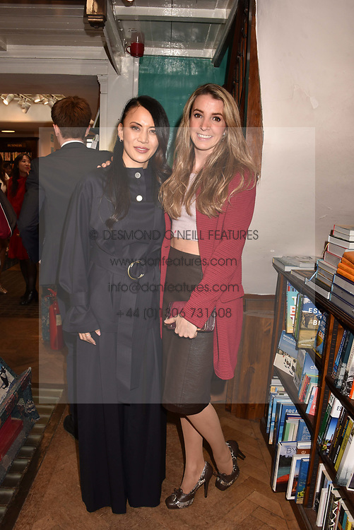 Left to right, Vicky Lee and Princess Tessy of Luxembourg at a party to celebrate the publication of Saving The World by Paola Diana at Daunt Books, Marylebone, London England. 2 May 2018.