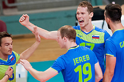 Tine Urnaut #17 of Slovenia celebrates during volleyball match between National Teams of Slovenia and FRY Macedonia of 2014 CEV Volleyball European League Man - Pool B, on July 5, 2014, in Arena Ljudski vrt Lukna, Maribor, Slovenia, Slovenia. Photo by Urban Urbanc / Sportida
