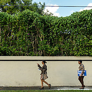 NORTH MIANI, FLORIDA, NOVEMBER 8, 2016<br /> Move On volunteers Lorna Shuford, left,  and her mother Delma Rodriguez  go knocking on doors of homes of voters in the North Miami area as they canvass for democratic votes.<br /> (Photo by Angel Valentin/Freelance)