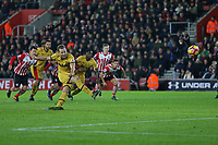 Football - 2016 / 2017 Premier League - Southampton vs. Tottenham Hotspur<br /> <br /> Harry Kane of Tottenham Hotspur pushes up a huge divot causing him to blast the penalty over the bar at St Mary's Stadium Southampton England<br /> <br /> COLORSPORT/SHAUN BOGGUST