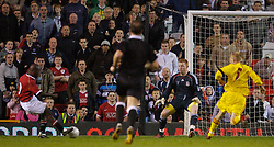 Manchester, England - Thursday, April 26, 2007: Liverpool's goalkeeper David Roberts makes a save from Manchester United's Fabian Brandy during the FA Youth Cup Final 2nd Leg at Old Trafford. (Pic by David Rawcliffe/Propaganda)
