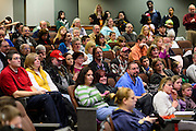 The audience, filled with supporting family members, friends and teachers watches the Scripps College of Communication Regional Spelling Bee in Margaret M. Walter Hall Saturday, March 16, 2013.