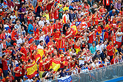 MOSCOW, RUSSIA - Sunday, July 1, 2018: Spain supporters during the FIFA World Cup Russia 2018 Round of 16 match between Spain and Russia at the Luzhniki Stadium. (Pic by David Rawcliffe/Propaganda)