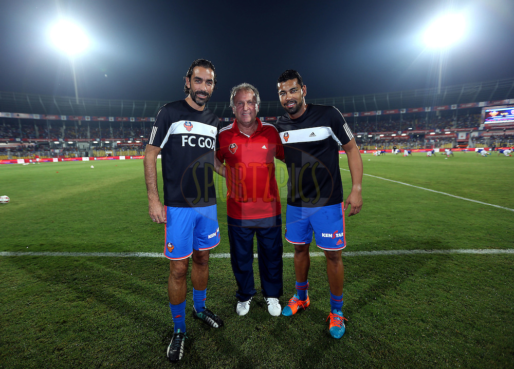 Robert Pires of FC Goa ,FC Goa coach Zico and Andre Santos of FC Goa during match 46 of the Hero Indian Super League between FC Goa and North East United FC held at the Jawaharlal Nehru Stadium, Fatorda, India on the 1st December 2014.<br /> <br /> Photo by:  Sandeep Shetty/ ISL/ SPORTZPICS