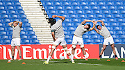The South African team stretching during the South Africa Captain's Run training session in preparation for the Rugby World Cup at the American Express Community Stadium, Brighton and Hove, England on 18 September 2015. Photo by David Charbit.