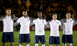 England U20 players (left to right) Sam Field, Easah Sulima, Eddie Nketiah, Adam Lewis and Elliot Embleton line up ahead of the match