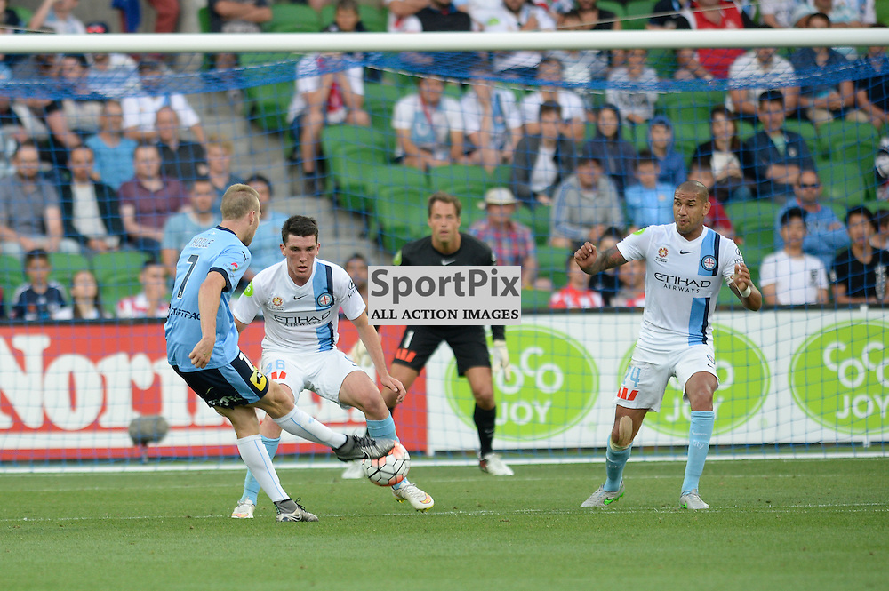 Andrew Hoole of Sydney FC, Matthew Millar of Melbourne City - Hyundai A-League, January 2nd 2016, RD13 match between Melbourne City FC V Sydney FC at Aami Park, Melbourne, Australia in a 2:2 draw. © Mark Avellino | SportPix.org.uk