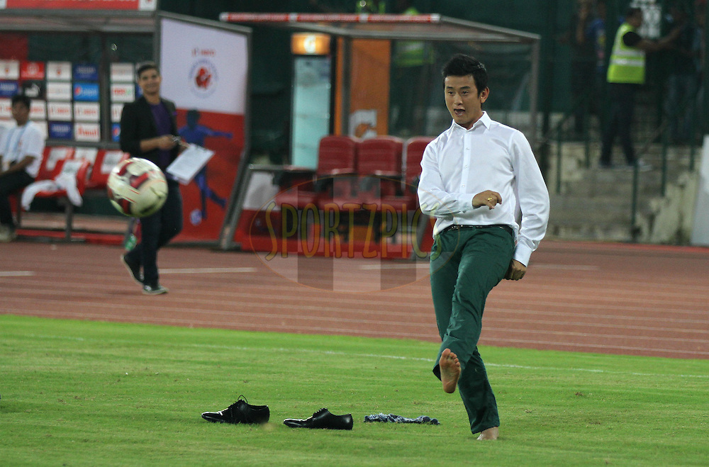 Commentator Baichung Bhutia play a game of football after the match 15 of the Hero Indian Super League between Chennaiyin FC and Mumbai City FC held at the Jawaharlal Nehru Stadium, Chennai, India on the 28th October 2014.<br /> <br /> Photo by:  Vipin Pawar/ ISL/ SPORTZPICS
