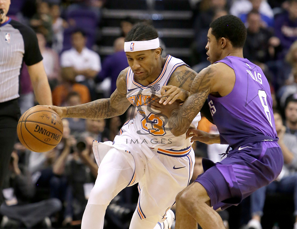 New York Knicks guard Trey Burke (23) in the first half during an NBA basketball game against the Phoenix Suns, Friday, Jan. 26, 2018, in Phoenix. (AP Photo/Rick Scuteri)