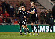 Players separate Leeds United midfielder Samu Saiz after an incident at full time with Muhamed Bešić of Middlesbrough during the EFL Sky Bet Championship match between Middlesbrough and Leeds United at the Riverside Stadium, Middlesbrough, England on 2 March 2018. Picture by Paul Thompson.