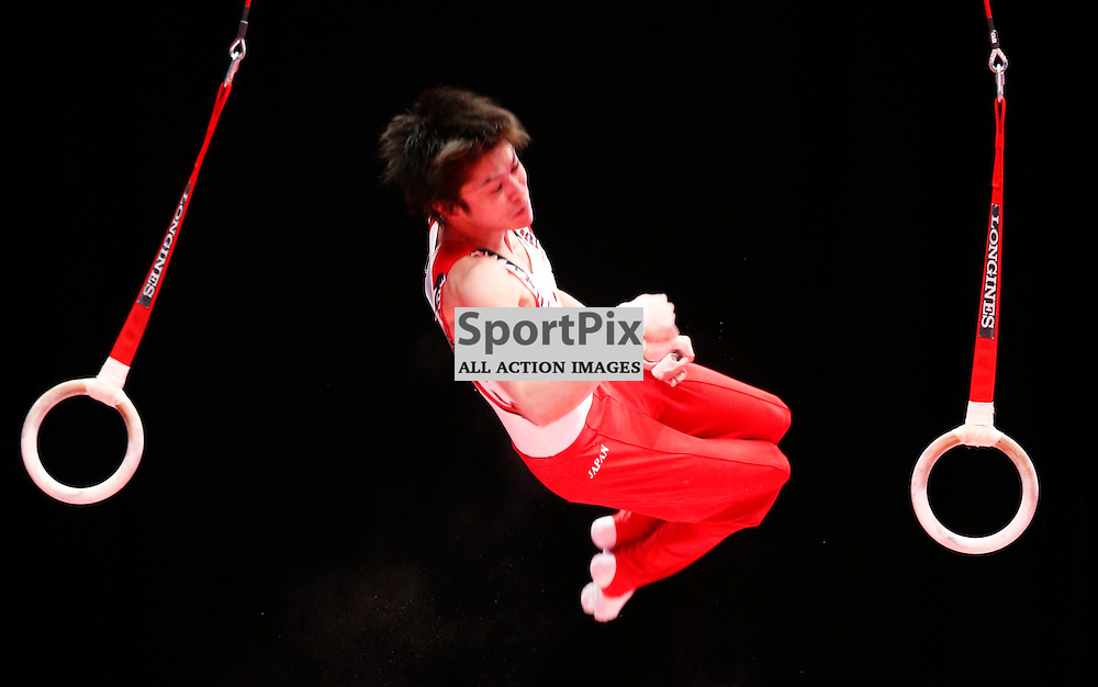 2015 Artistic Gymnastics World Championships being held in Glasgow from 23rd October to 1st November 2015.....Kohei Uchimura (Japan) competing in the Still Rings competition..(c) STEPHEN LAWSON | SportPix.org.uk