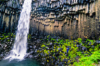 Iceland. Svartifoss waterfall in Skaftafell, part of Vatnajökull National Park. Basalt columns.