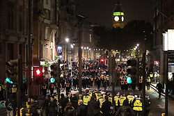 © Licensed to London News Pictures . 05/11/2016 . London , UK . Many police on Whitehall . Supporters of Anonymous , many wearing Guy Fawkes masks , attend the Million Mask March bonfire night demonstration , in central London . Photo credit : Joel Goodman/LNP