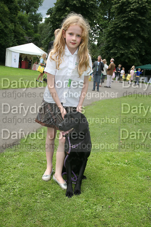 SOPHIE BARSHAW AND TARKA, Sixth Macmillan Dog Day for Macmillan Cancer Support, Supported by Savills. Royal Hospital Chelsea, London, SW3. 3 July 2007. -DO NOT ARCHIVE-© Copyright Photograph by Dafydd Jones. 248 Clapham Rd. London SW9 0PZ. Tel 0207 820 0771. www.dafjones.com.