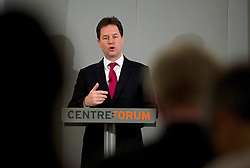 © London News Pictures. 22/03/2013 . London, UK.   Deputy Prime Minister Nick Clegg delivering a speech on immigrationon at The Honourable Society of Gray's Inn in London on Friday, March 22, 2013. Photo credit : Ben Cawthra/LNP