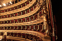 PALERMO, ITALY - 27 JANUARY 2013:  The galleries of the Massimo Theatre as seen from the Royale Dais in Palermo, Italy, on January 27th 2013...Das Rheingold is the first of the four operas that constitute Richard Wagner's Der Ring des Nibelungen ('The Ring of the Nibelung'). It was originally written as an introduction to the tripartite Ring, but the cycle is now generally regarded as consisting of four individual operas. Das Rheingold received its premiere at the National Theatre in Munich on 22 September 1869.