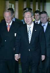 NEW YORK, NY - MAY-13-2007 - King Albert II of Belgium, meets with Ba Ki-Moon, Secretary General of the United Nations, during his visit to the United Nations as Belgium now holds one of the non-permamnent seats on the UN Security Council. (Reporters © Jock Fistick)