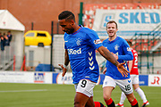 Jermain Defoe wheels away to celebrate Rangers 2nd Goal during the Ladbrokes Scottish Premiership match between Hamilton Academical FC and Rangers at The Hope CBD Stadium, Hamilton, Scotland on 24 February 2019.