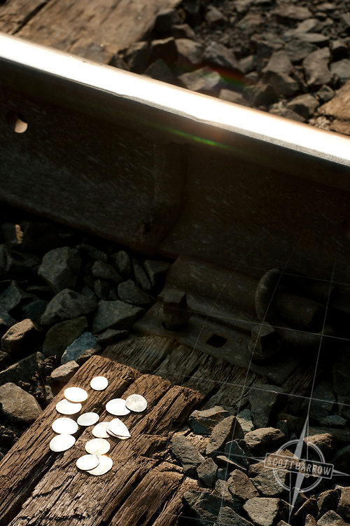 Coins flattened by train.