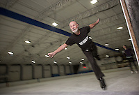 Competitive 73-year-old figure skater Richard Lynch pratices his figure skating at Canterbury Ice Rink. He recently competed in the Australian Masters Games