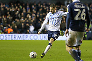 Everton midfielder Gylfi Sigurdsson (10) shoots at goal during the The FA Cup fourth round match between Millwall and Everton at The Den, London, England on 26 January 2019.