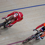 Track Cycling - Olympics: Day 8   Tianshi Zhong of China wearing the face figure on her helmet next to eventual gold medal winner Elis Ligtlee of The Netherlands while competing in the Women's Keirin second round  during the track cycling competition at the Rio Olympic Velodrome August 12, 2016 in Rio de Janeiro, Brazil. (Photo by Tim Clayton/Corbis via Getty Images)