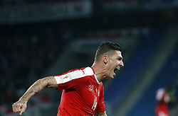 Switzerland's Steven Zuber reacts after scoring 3-0 against Hungaryi during the FIFA World Cup 2018 Qualifiers Group B match between Switzerland and Hungary, in Basel Switzerland, Oct. 7, 2017. Switzerland won 5-2. (Credit Image: © Ruben Sprich/Xinhua via ZUMA Wire)