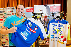 Uros Zorman with New jersey at press conference of Slovenian Handball Men National Team, on January 13, 2011, in Zrece, Slovenia. (Photo by Vid Ponikvar / Sportida)
