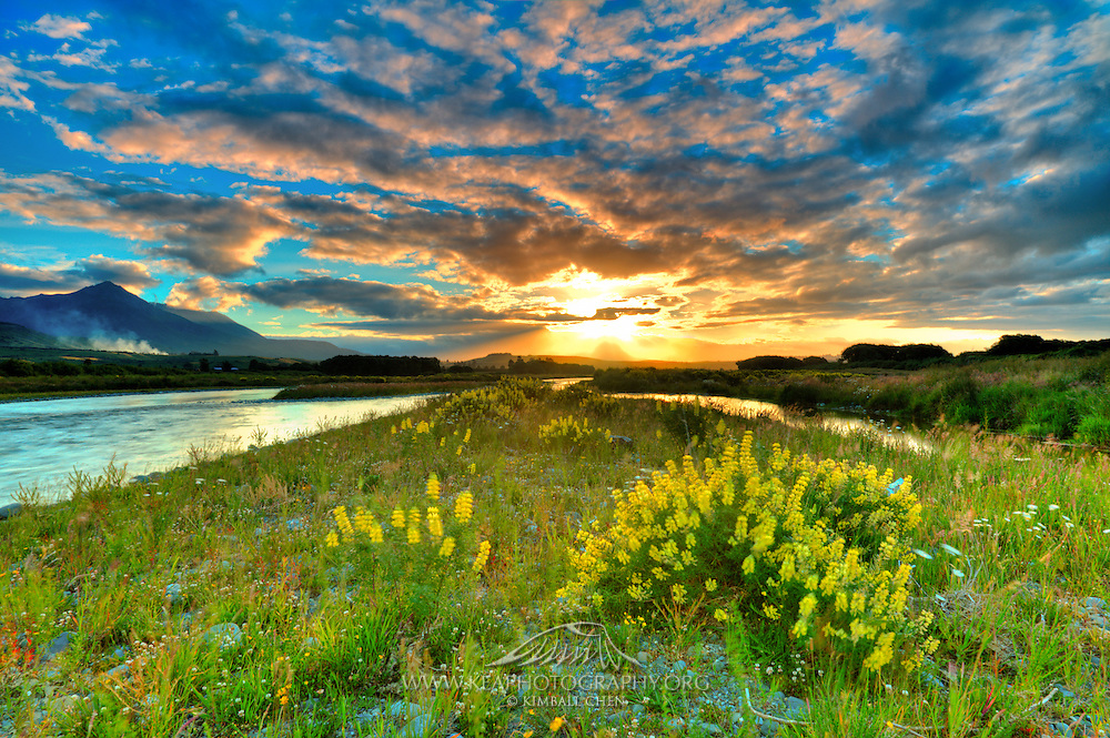A beautiful and bright sunset over Mararoa River, Southland, New Zealand
