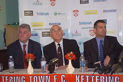 Mick Leech Director Peter Mallinger Chairman, Kevin Wilson Manager, Paul Gascoigne, Gazza, signs as New Kettering Town Manager at Rockingham Road 27th October 2005