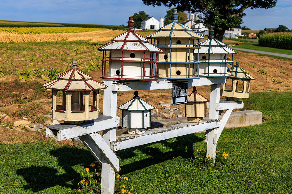 Landisville, PA, USA - August 23, 2015: Bird houses offered for sale along a farm road in Lancaster, PA.