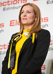 Scottish Parliament Election 2016 Royal Highland Centre Ingliston Edinburgh 05 May 2016; Ash Denham (SNP) smiles after winning Edinburgh Eastern during the Scottish Parliament Election 2016, Royal Highland Centre, Ingliston Edinburgh.<br /> <br /> (c) Chris McCluskie | Edinburgh Elite media