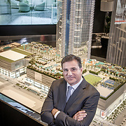 MIAMI,  FLORIDA--- NOVEMBER 3, 2015: <br /> Daniel Kodsi, Developer and CEO of Paramount Miami Worldcenter in downtown Miami, stands in the projects sales center near a model of the 60 story condo tower which will sit atop the the Miami Worldcenter Mall. (Photo by Angel Valentin)