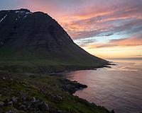 Sunset at Dalatangi, East fiords of Iceland.