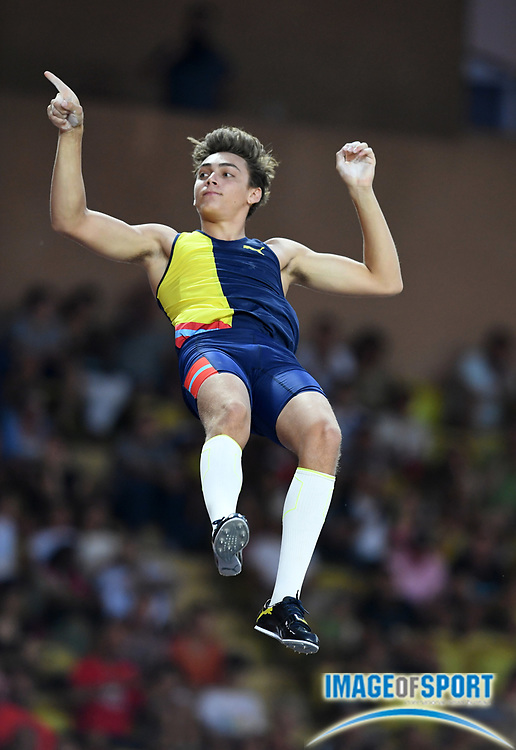 Mondo Dupantis aka Armand Duplantis (SWE) places second in the pole vault at 19-5 (5.92m) during the Herculis Monaco in an IAAF Diamond League meet at Stade Louis II stadium in Fontvieille, Monaco on Friday, July 12, 2019. (Jiro Mochizukii/Image of Sport)