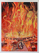 Illustration of Thorgal and Aniel and the basin of fire, page 41, plate 39, for Le Feu Ecarlate or the Scarlet Fire, Series 35 of the Thorgal comic book series, to be published November 2016, by Grzegorz Rosinski, 1941-, Polish comic book artist. Rosinski was born in Stalowa Wola, Poland, and now lives in Switzerland, and is the author and designer of many Polish comic book series. He created Thorgal with Belgian writer Jean Van Hamme. The series was first published in Tintin in 1977 and has been published by Le Lombard since 1980. The stories cover Norse mythology, Atlantean fantasy, science fiction, horror and adventure genres. Le Feu Ecarlate takes place in Bag Dadh, a city under siege by the Magnus force, where Thorgal must find Aniel and save him from the Red Wizards who made him the reincarnation of their Grand Master Kahaniel. Picture by Manuel Cohen / Further clearances requested, please contact us and/or visit www.lelombard.com