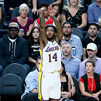08 October 2017: Los Angeles Lakers forward Brandon Ingram (14) takes a jump shot during the LA Lakers 75-69 victory over the Sacramento Kings, at the T-Mobile Arena, Las Vegas, Nevada, USA.